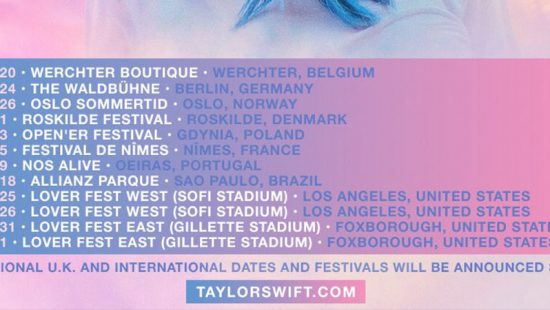 Taylor Announces 'Lover Fest East + West' Concert Dates